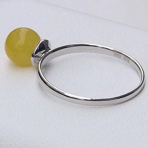 パワーストーン:イエロージェイド:(黄色翡翠):リング:6mm:K18:WG:ホワイトゴールド:シンプル:指輪