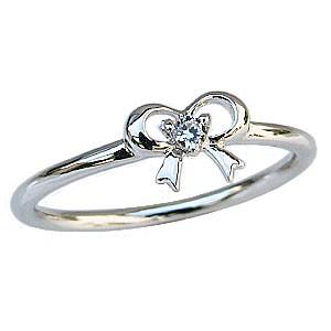 ダイヤモンドリング ピンキーリング リボンモチーフ プラチナ PT900 指輪 ダイヤモンド 0.03ct