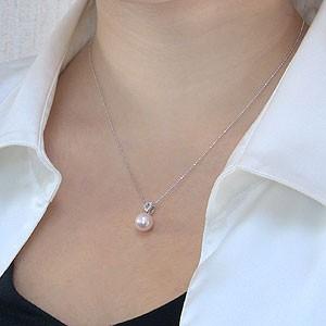 真珠:パール:ペンダントトップ(ヘッド):あこや本真珠:9mm:ピンクホワイト系:K18WG:ホワイトゴールド:ダイヤモンド:0.06ct