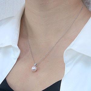 真珠:パール:ペンダントトップ(ヘッド):あこや本真珠:8.5mm:ピンクホワイト系:Pt900:プラチナ:ダイヤモンド:0.08ct