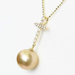 真珠:ゴールデンパール:南洋白蝶真珠:10mm:ゴールド系:ペンダントトップ:K18WG:ホワイトゴールド:ダイヤモンド:0.28ct
