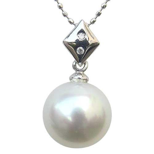 ネックレスペンダント 南洋真珠 K18WG ホワイトゴールド ネックレス ダイヤモンド ジュエリー