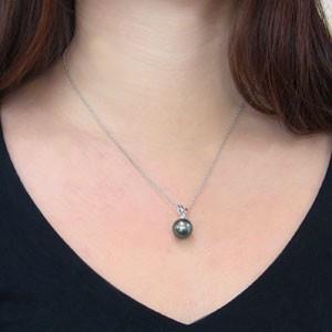 真珠:パール:ペンダントトップ:タヒチ黒蝶真珠:ブラックパール:11mm:ホワイトゴールド:K18WG