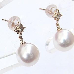 真珠パール  ピアス あこや本真珠 K18PG ピンクゴールド 真珠の径 8mm ピンクホワイト系 ダイヤモンド 2石 0.02ct ピアス 6月誕生石