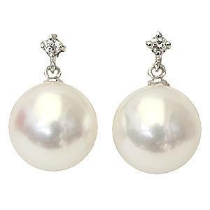 真珠パール  ピアス あこや本真珠 PT900 プラチナ 真珠の径 8mm ピンクホワイト系 ダイヤモンド 2石 0.02ct ピアス 6月誕生石