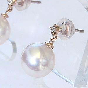 真珠パール  ピアス あこや本真珠 K18 ピンクゴールド 真珠の径 8mm ピンクホワイト系 ダイヤモンド 2石 0.02ct ピアス 6月誕生石