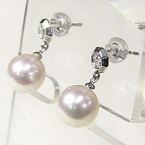 真珠 パール 6月誕生石  ピアス あこや本真珠 PT900 プラチナ 真珠の径8mm ダイヤモンド 2石 0.06ct  ピアス