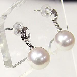 真珠 パール 6月誕生石  ピアス あこや本真珠 PT900 プラチナ 真珠の径8mm ピンクホワイト系 月 ダイヤモンド 2石 0.02ct  ピアス