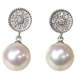 真珠 パール 6月誕生石  ピアス あこや本真珠 K18WG ホワイトゴールド 真珠の径8mm ピンクホワイト系 ダイヤモンド 2石 0.10ct  ピアス