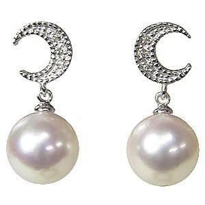 真珠 パール 6月誕生石  ピアス あこや本真珠 K18WG ホワイトゴールド 真珠の径8mm ピンクホワイト系 ダイヤモンド 6石 0.04ct  月 ピアス