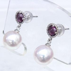 真珠 パール 6月誕生石  ピアス あこや本真珠 PT900 プラチナ 真珠の径8mm ピンクホワイト系 ロードライトガーネット  ピアス