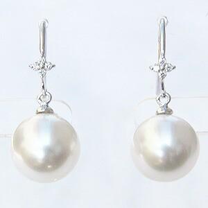 南洋白蝶真珠:10mm:パール:ピアス:K18WG:ホワイトゴールド:ホワイトピンク色真珠:セミラウンド形:アメリカンフック式:揺れるブラタイプ