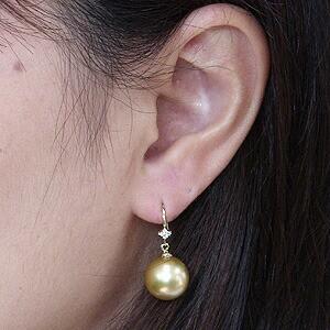 パール:ピアス:真珠:ゴールデンパール:南洋白蝶真珠:ゴールド系:直径11mm:ダイヤモンド:0.06ct:K18:ゴールド:18金