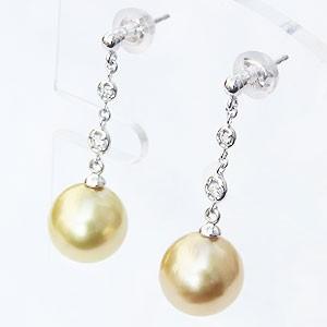 パール:ピアス:真珠:ゴールデンパール:南洋白蝶真珠:ゴールド系:直径10mm:ダイヤモンド:0.06ct:K18WG:ホワイトゴールド:18金