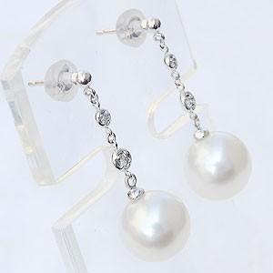 パール:ピアス:真珠:南洋白蝶真珠:ホワイトピンク系:直径10mm:ダイヤモンド:0.06ct:K18WG:ホワイトゴールド:18金