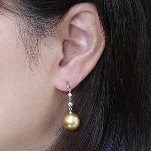 パール:ピアス:真珠:ゴールデンパール:南洋白蝶真珠:ゴールド系:直径11mm:ダイヤモンド:0.06ct:K18WG:ホワイトゴールド:18金