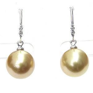 パール:ピアス:真珠:ゴールデンパール:南洋白蝶真珠:ゴールド系:直径10mm:ダイヤモンド:0.06ct:K18WG:ホワイトゴールド
