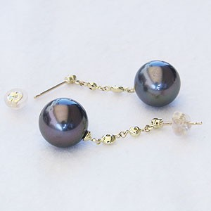 パール:ピアス:真珠:ブラックパール:タヒチ黒蝶真珠:グリーン系:直径10mm:ダイヤモンド:0.06ct:K18:ゴールド:18金