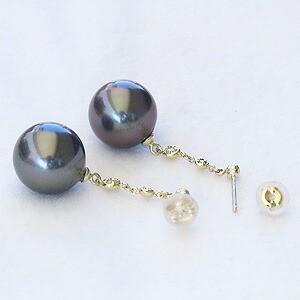 パール:ピアス:真珠:ブラックパール:タヒチ黒蝶真珠:グリーン系:直径11mm:ダイヤモンド:0.06ct:K18:ゴールド:18金