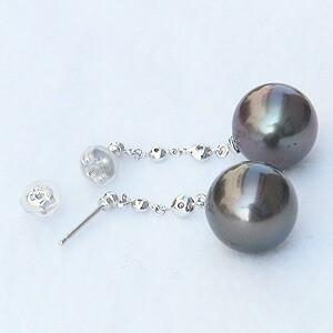 パール:ピアス:真珠:ブラックパール:タヒチ黒蝶真珠:グリーン系:直径11mm:ダイヤモンド:0.06ct:K18WG:ホワイトゴールド:18金