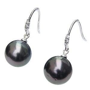 パール:ピアス:真珠:ブラックパール:タヒチ黒蝶真珠:グリーン系:直径10mm:ダイヤモンド:0.06ct:K18WG:ホワイトゴールド: