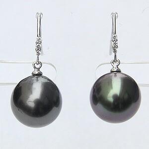 パール:ピアス:真珠:ブラックパール:タヒチ黒蝶真珠:グリーン系:11mm:ダイヤモンド:0.06ct:K18WG:ホワイトゴールド: