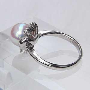 あこや本真珠:PT900:リング:9mm:ピンクホワイト系:ラウンド