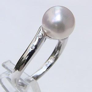 あこや本真珠:リング:ピンクホワイト系:8mm:PT:プラチナ:900
