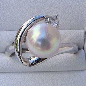 あこや本真珠:リング:ダイヤモンド0.05ct