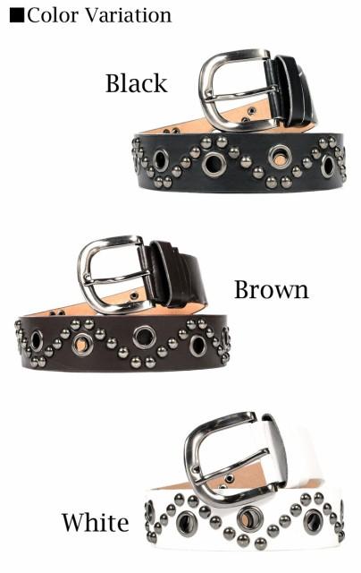 【w458】 / ベルト メンズ 革 レザー スタッズ バックル ホワイト ブラウン