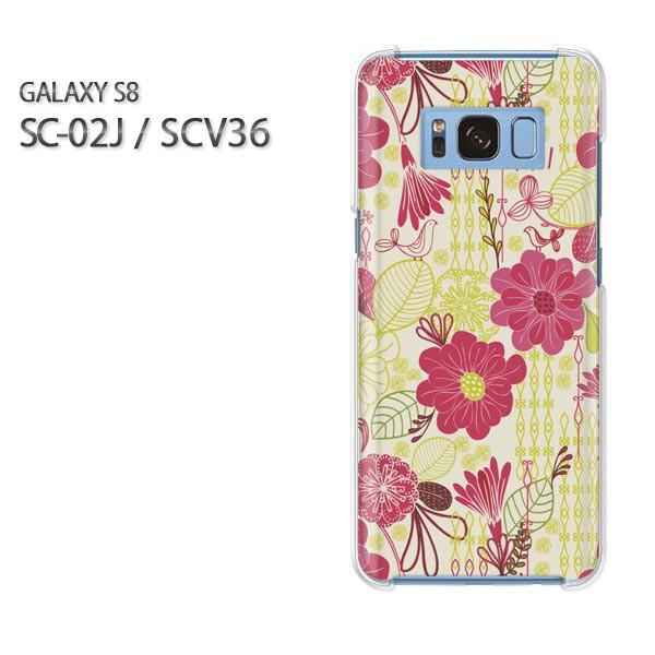 ゆうパケスマホケース ハード SC-02J SCV36 Gyalaxy S8 クリア [花(赤)/sc02j-pc-new0029]
