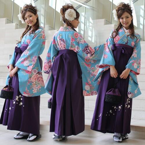 袴 レンタル 卒業式 袴セット 卒業式袴セット2尺袖着物&袴 フルセットレンタル 安い 青 華やか
