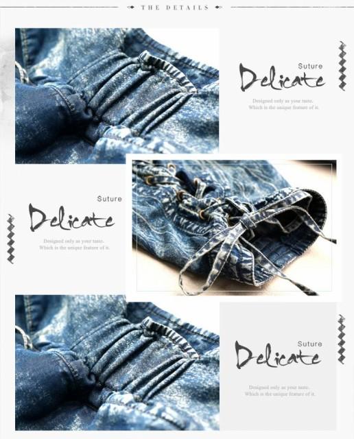 オリジナルデザイン ジーンズ 裾絞り ゆったり リヨセル混デニムパンツ(リブパンツ/カーゴパンツ/着痩せ/体型カバー/ウォッシュ加工)