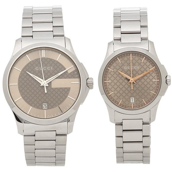 【ご予約品】 グッチ 腕時計 ペアウォッチ レディース メンズ GUCCI YA126445 YA126594 シルバー ブラウン, 米沢市 6681a947