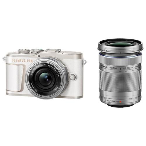 【一部予約!】 EZダブルズームキット オリンパス PEN ホワイト E-PL10-カメラ