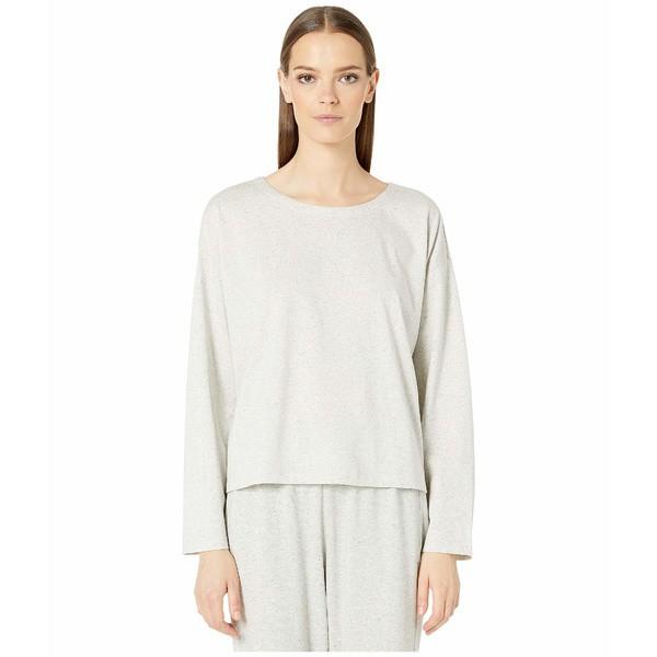 新作人気 Organic エイリーンフィッシャー レディース Pearl Cotton Speckle Neck Knit トップス Jewel シャツ Box-Top-トップス
