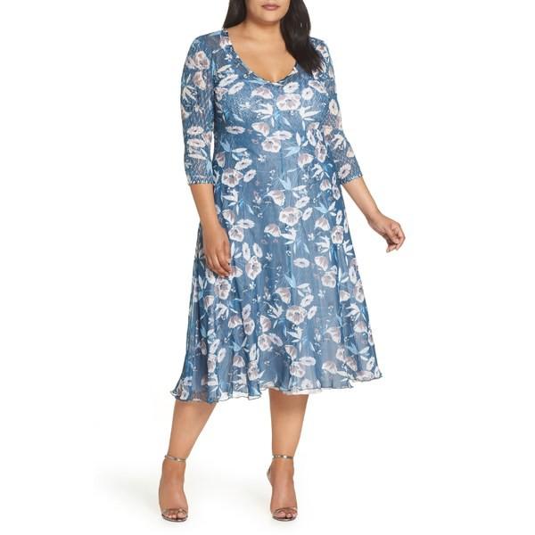 【当店限定販売】 コマロフ レディース ワンピース トップス Komarov Charmeuse & Chiffon A-Line Dress (Plus Size) Atlantic Arbor, オゴオリシ fbf99451