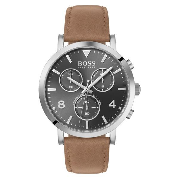 新着 アクセサリー 腕時計 Silver 41mm メンズ BOSS Brown/ Grey/ Spirit Chronograph Strap ボス Leather Watch,-その他腕時計