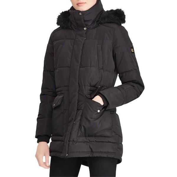 本物保証!  ラルフローレン Fur レディース コート アウター コート Lauren Ralph Faux Lauren Puffer Coat with Faux Fur Trim Black, タイヤラック ジャスティス:6bc2a7a8 --- erotikjobs-online.de