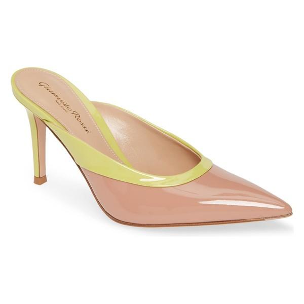 正規品! ジャンヴィト ロッシ レディース サンダル シューズ Gianvito Rossi Colorblock Mule (Women) Dahlia Pink/ Yellow, すりーむ b771c0ed