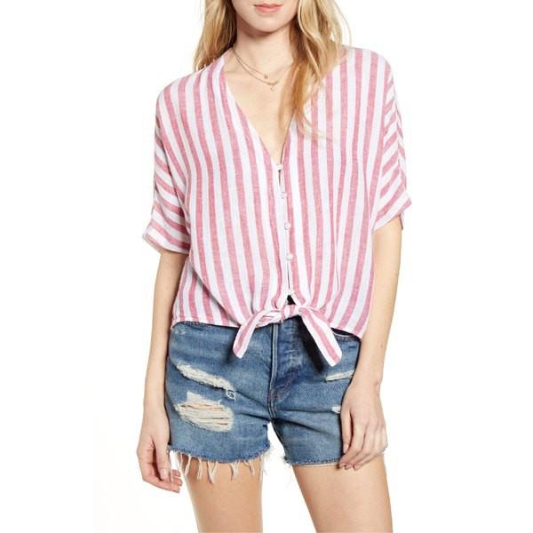 全日本送料無料 レイルズ Shirt レディース トップス カットソー トップス Rails Thea Tie Hem Shirt Tie Carmine Stripe, 生活雑貨 ココ笑店:6c5a24d7 --- eu-az124.de