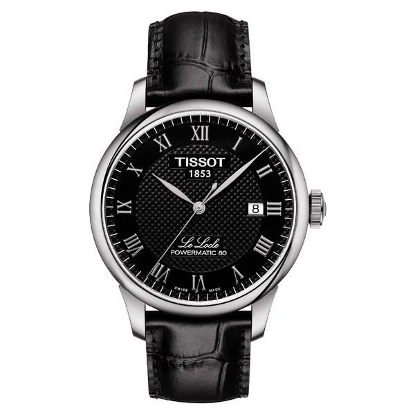 訳あり商品 ティソット レディース 腕時計 アクセサリー Tissot Le Locle Powermatic Automatic Leather Strap Watch, 39mm Black/ Silver, 神戸市 ab8567f7