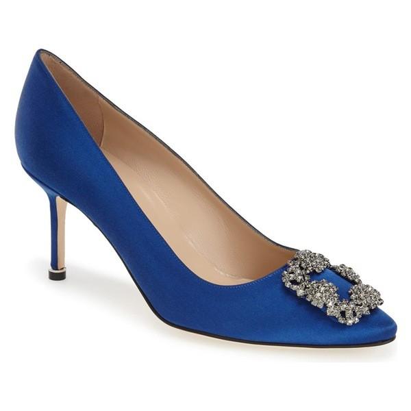 【中古】 'Hangisi' (Women) マノロブラニク パンプス Manolo Pump レディース Toe Pointy シューズ Satin Blue Blahnik-靴・シューズ