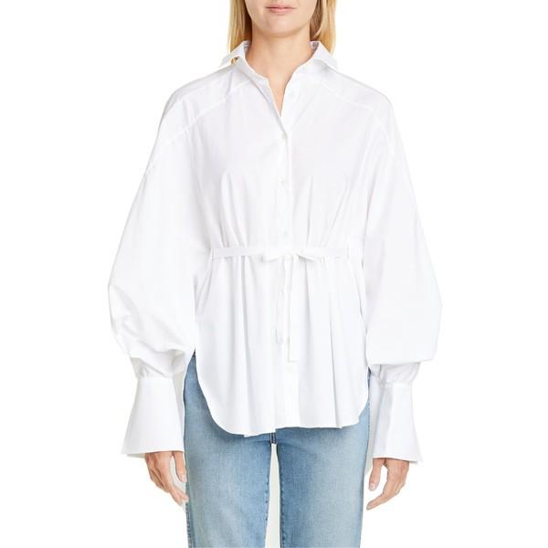 見事な パーマーハーディング Palmer/Harding Shirt レディース カットソー トップス Palmer/Harding Streep Streep Belted High/Low Shirt White Poplin, ミワチョウ:4201282f --- kleinundhoessler.de