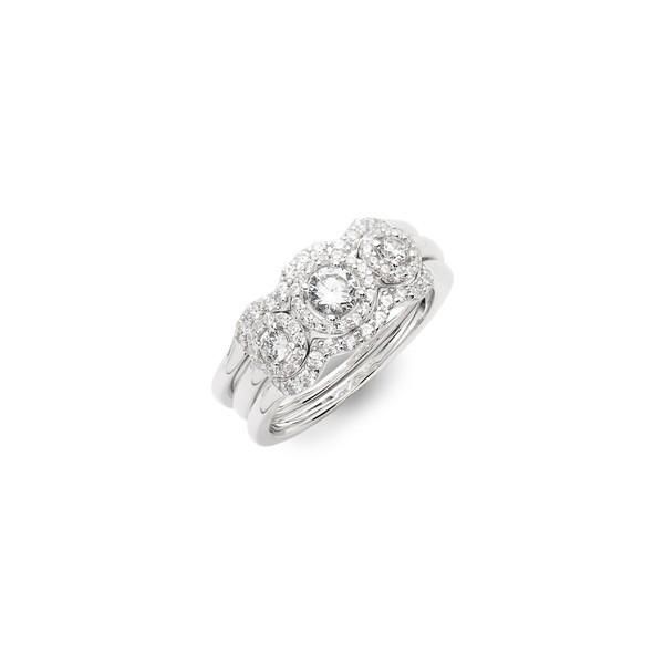 【受注生産品】 ラフォン レディース リング アクセサリー Lafonn Three アクセサリー Stone Halo レディース Engagement Silver/ Ring & Wedding Band Set Silver/ Clear, オタリムラ:d2faa18d --- chevron9.de