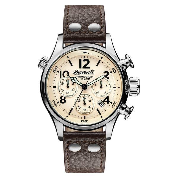 今季ブランド インガーソルウォッチ メンズ 腕時計 アクセサリー Ingersoll Chronograph Leather Strap Watch, 46mm Black/ Beige/ Silver, 九谷陶芸 北山堂 9b3d2ea9