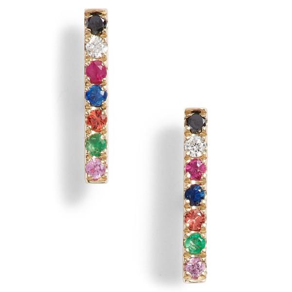 【超歓迎された】 Stud Diamond ピアス&イヤリング エフコレクション EF Rainbow Earrings Gold レディース Bar COLLECTION Yellow アクセサリー-ピアス