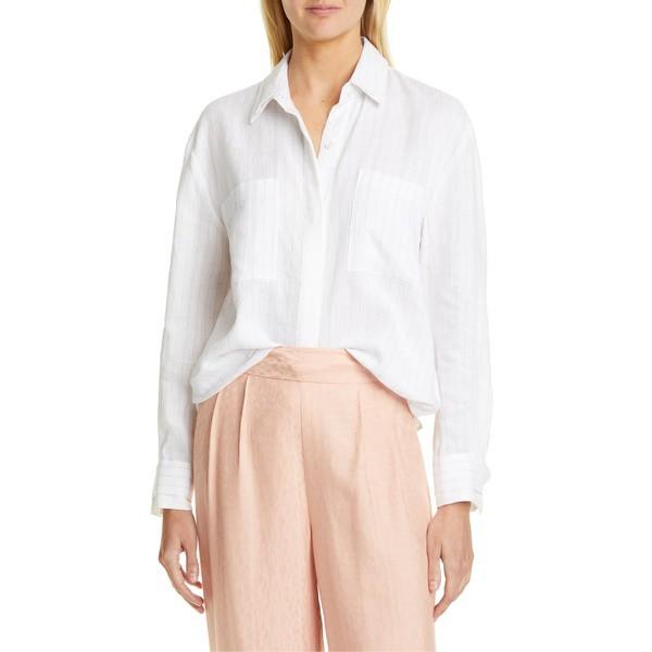 100%正規品 エキプモン レディース シャツ White トップス Equipment シャツ Aceline Stripe Linen Blouse Bright Bright White Silver, ユニベティ:5bb7b858 --- nak-bezirk-wiesbaden.de
