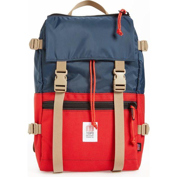 輝い トポ・デザイン メンズ バックパック・リュックサック バッグ Topo Designs 'Rover' Backpack Navy/ Red, ウラワク 083611da