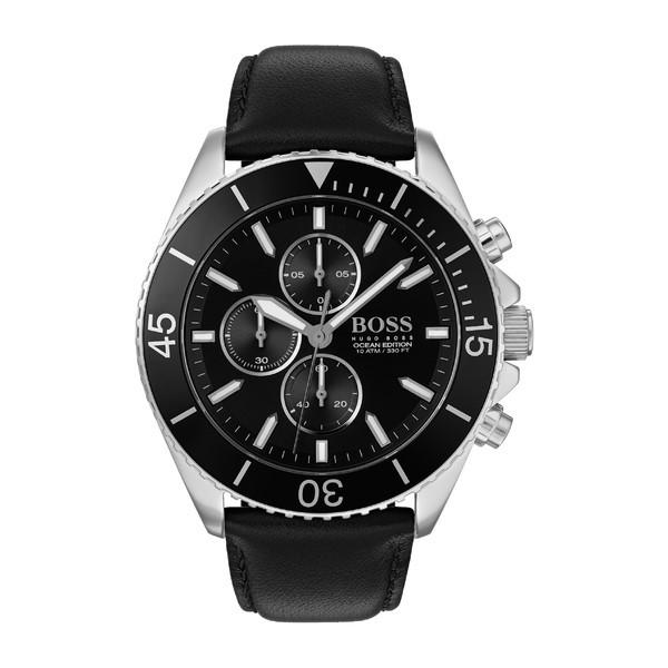 激安特価  ボス メンズ 腕時計 アクセサリー BOSS Ocean Edition Chronograph Leather Strap Watch, 46mm Black/ Silver, 代官山セレクトショップWild Lily d95d0f85
